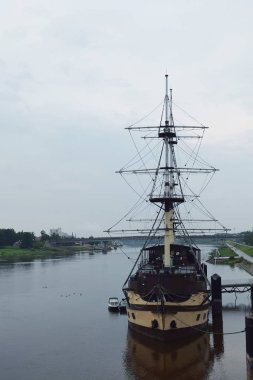 the recreational ship is moored to the bank of the Volkhov River in the city of Veliky Novgorod Russia