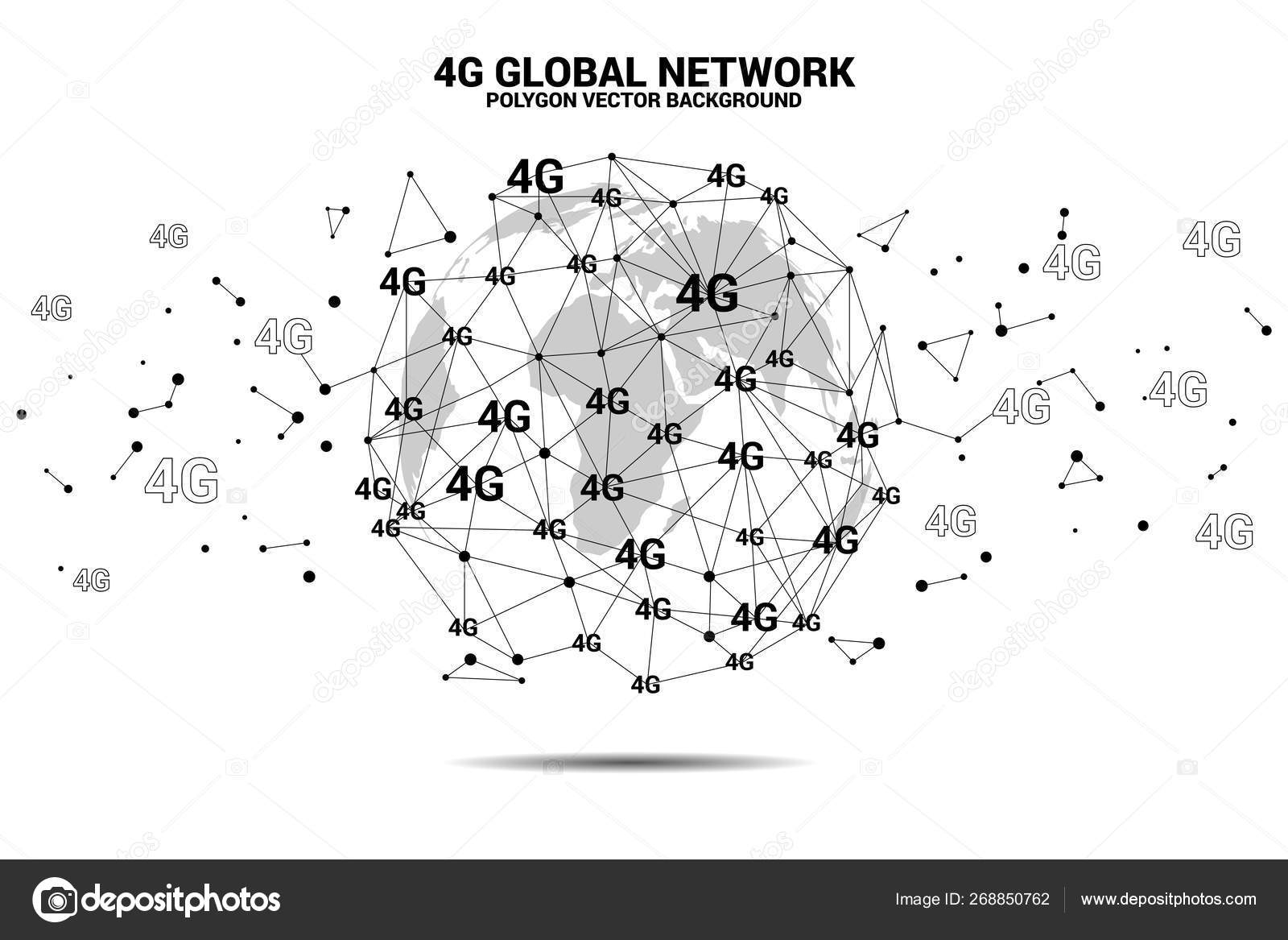 Vector Polygon dot connect line with 4G around world map globe ... on skype world map, 4d world map, cdma world map, 1d world map, hotspot world map, 2d world map, gps world map, 4k world map,