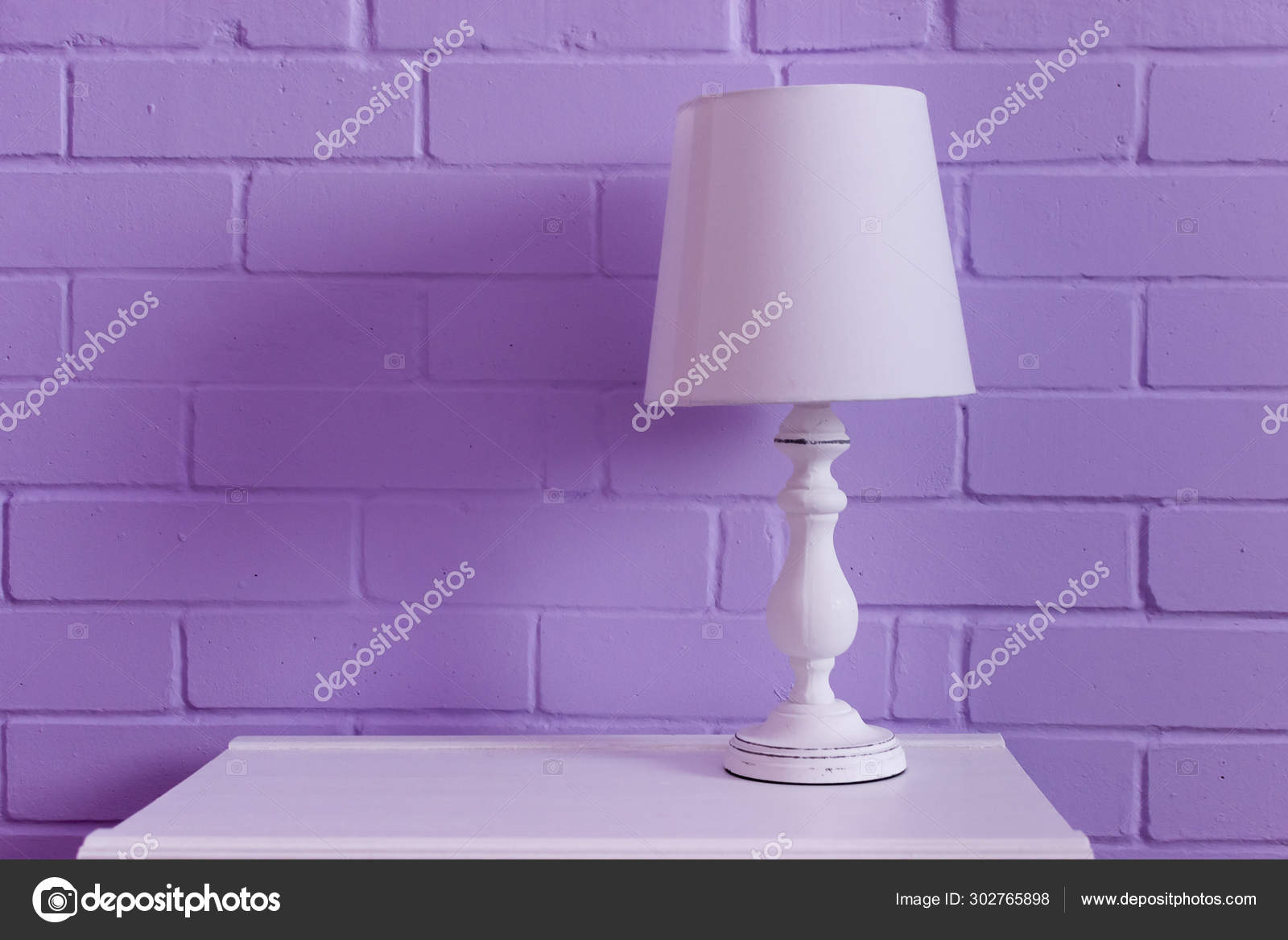 White Table Lamp Stands White Nightstand Lilac Wall Stock