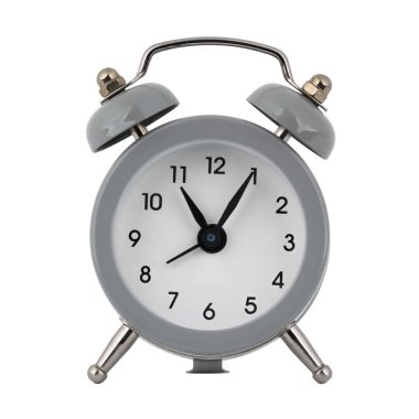 A gray clock with an alarm clock on a white background with arrows showing the time eleven hours five minutes or twenty three hours five minutes