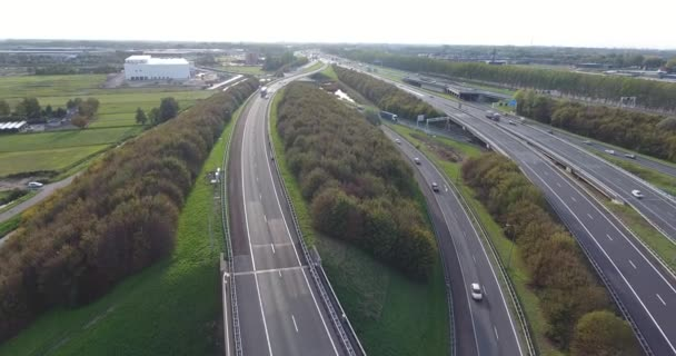 Aerial view of highways, Rotterdam area, Netherlands