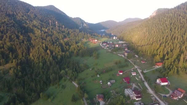 Aerial view of montains, Red lake area, Bicaz, Romania, morning sunrise summer time