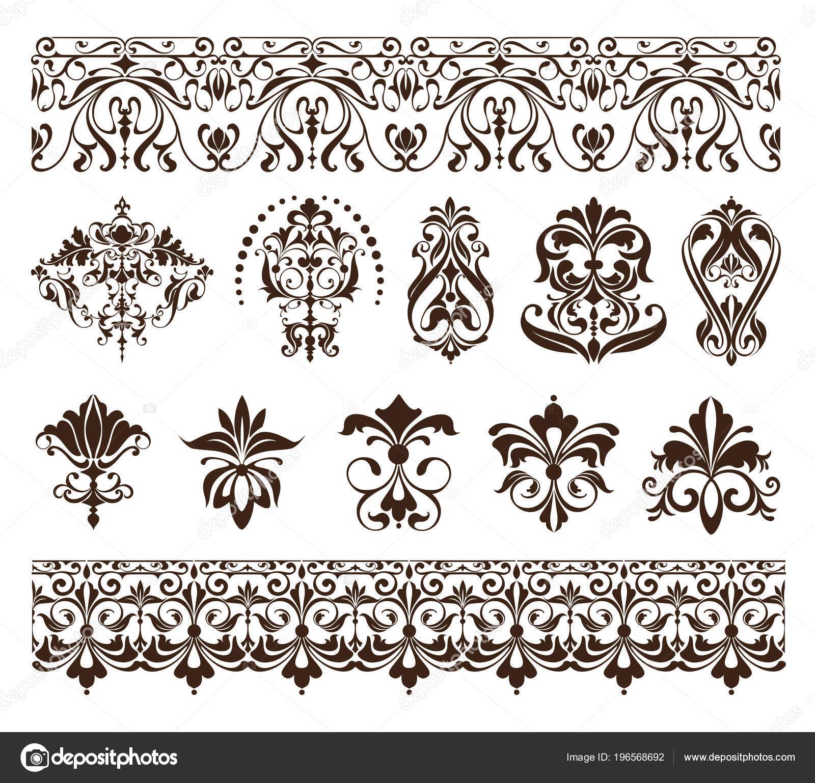 Vintage Diseño Elementos Ornamentos Marco Esquinas Bordillos Retro ...