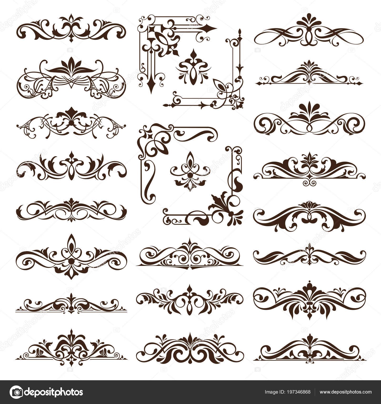 Vintage Design Elemente Ornamente Rahmen Ecken Bordsteine Retro ...
