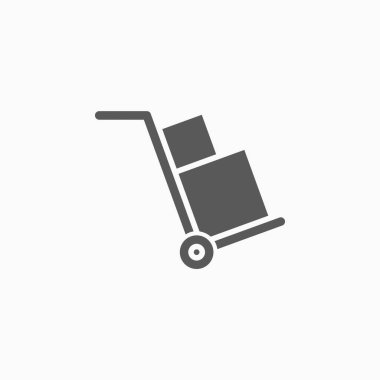 Handcart icon, cart icon, shipping vector, delivery illustration, box icon, package vector icon