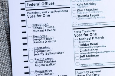 Republican candidates Donald Trump and Mike Pence as well as Democratic candidates Joe Biden and Kamala Harris listed on the ballot. Portland, Oregon / USA - October 2020.