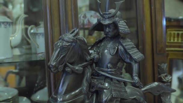 Antique Shop Black Edo Period Japanese Warrior on Horse Statue 2