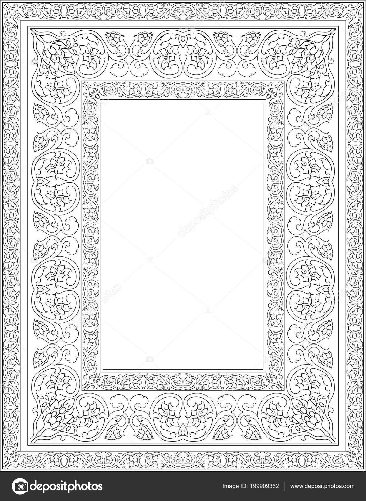 Ornamento Floral Blanco Negro Oriental Plantilla Para Marco Tarjeta ...
