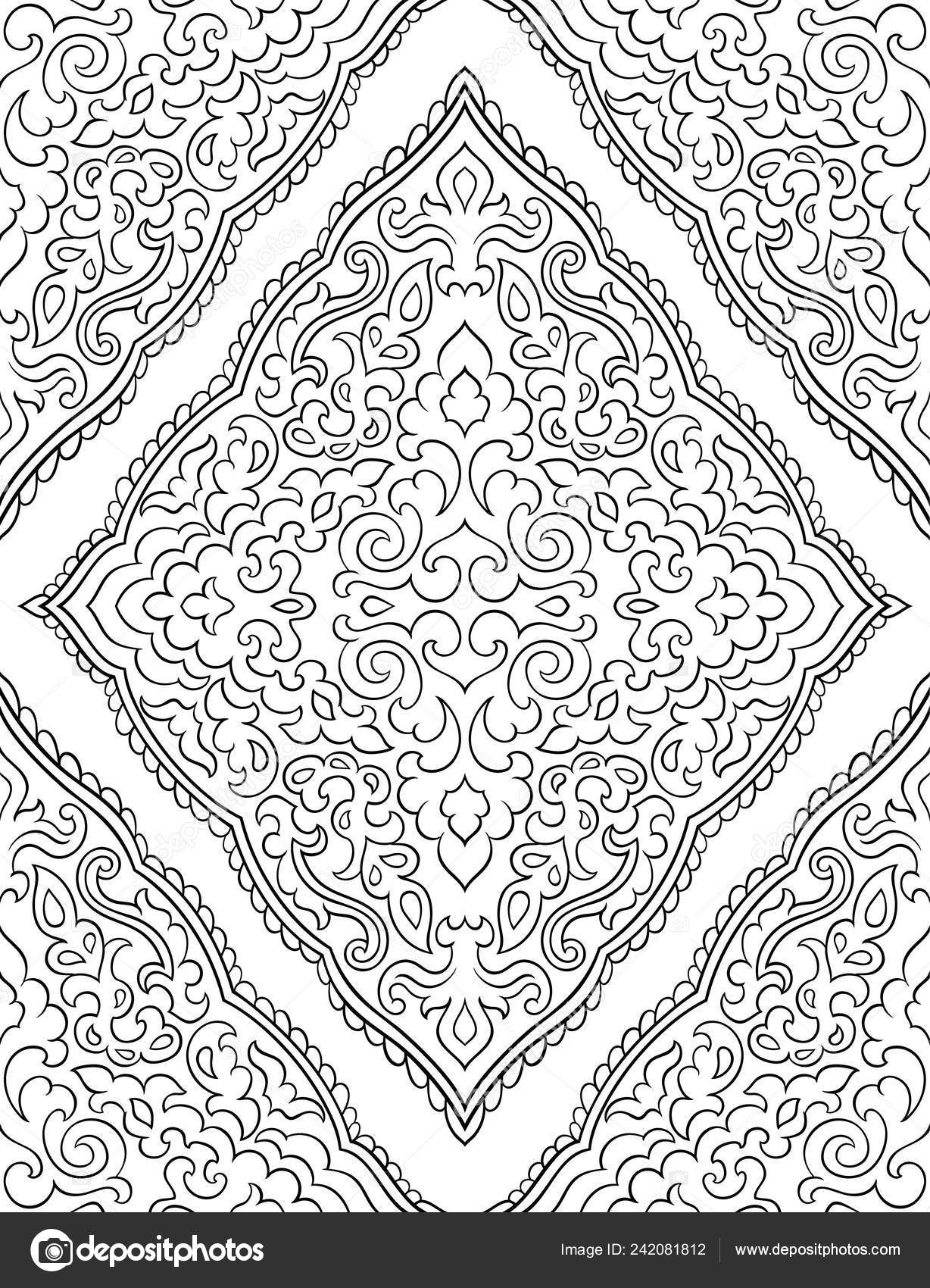 Abstract Pattern Damask Seamless Filigree Ornament Black White Template Wallpaper Stock Vector C Matorinni 242081812
