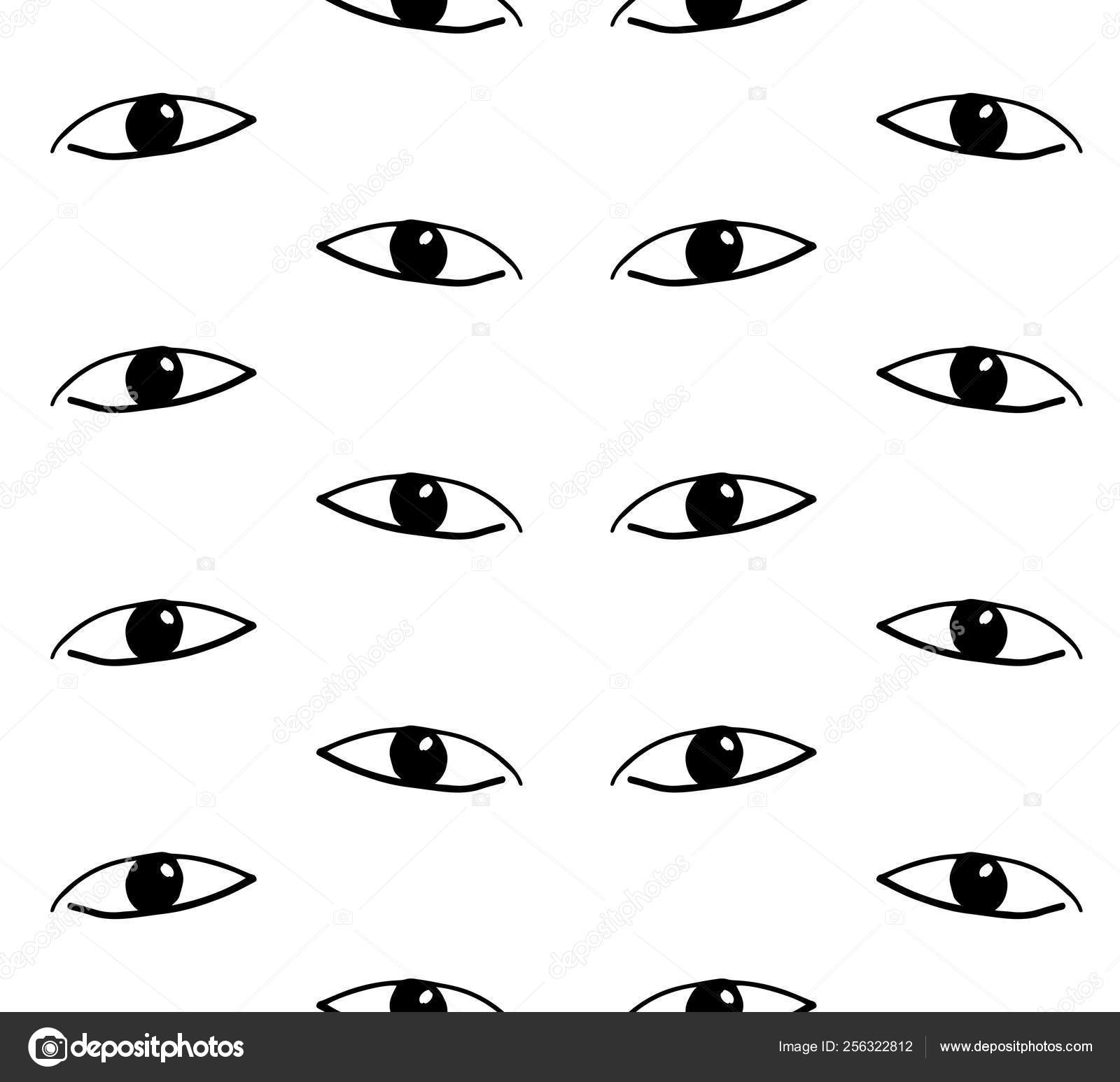 Eyes Looking Modern Seamless Repeat Pattern Hand Drawn Fabric
