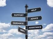 Fotografie Pomoc, podpora, poradenství, vedení, pomoc a informace crossroad rozcestníku obchodní koncept