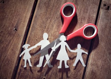 Divorce and child custody scissors cutting family apart