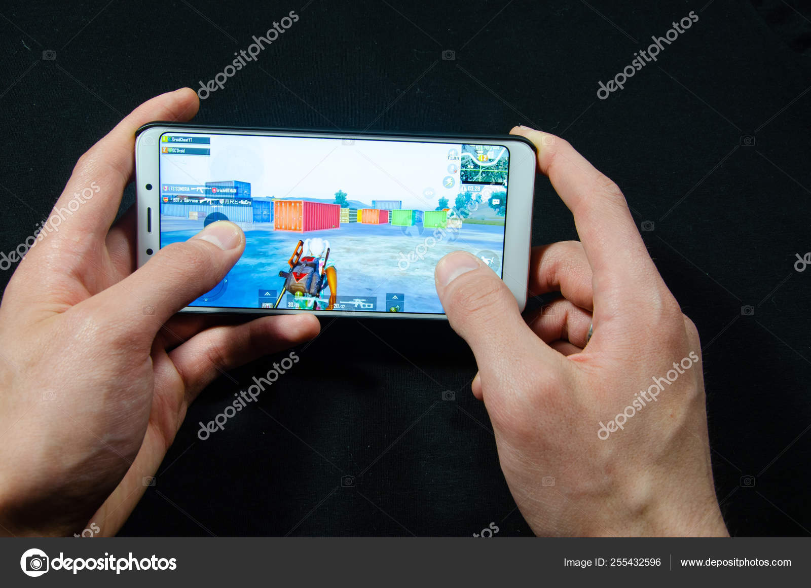 Hands Holding A Smartphone On Which The Game Gameplay Gameplay Pubg G Mobile Playerunknown S Battlegrounds Stock Editorial Photo C Arthur Shevtsov 255432596