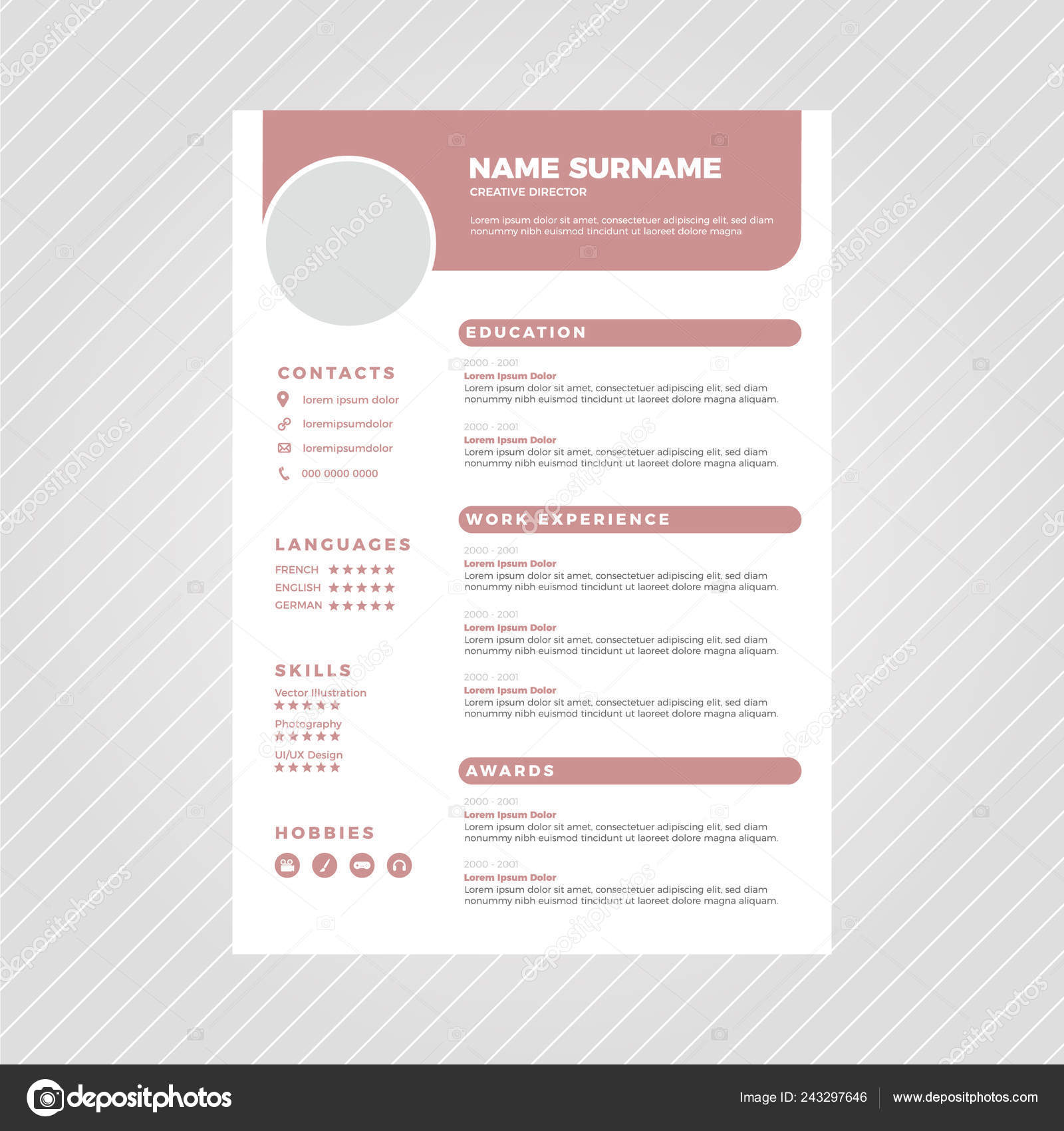 muted pink modern professional resume design template