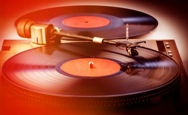 vinyl records and player