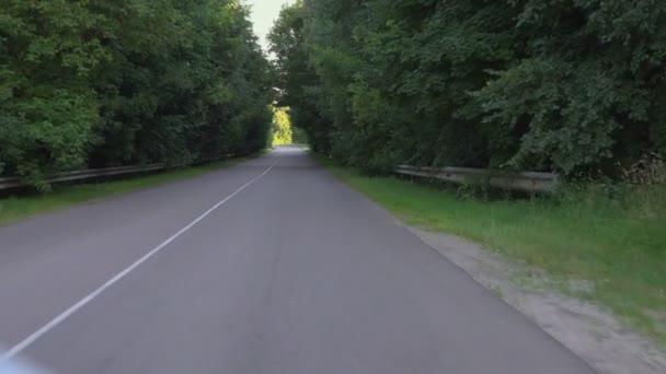 POV-záběry jízdy autem na silnici v přírodě