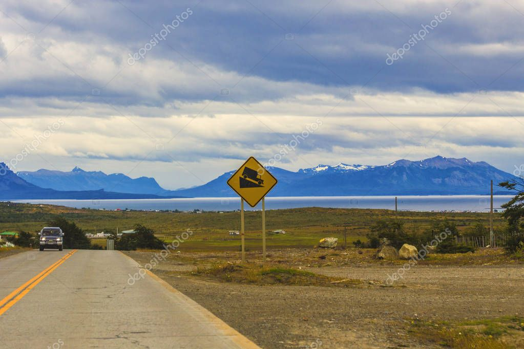 PATAGONIA, CHILE - February 2019: Highway Fin Del Mundo in the beautiful sunset light in Patagonia, Chile