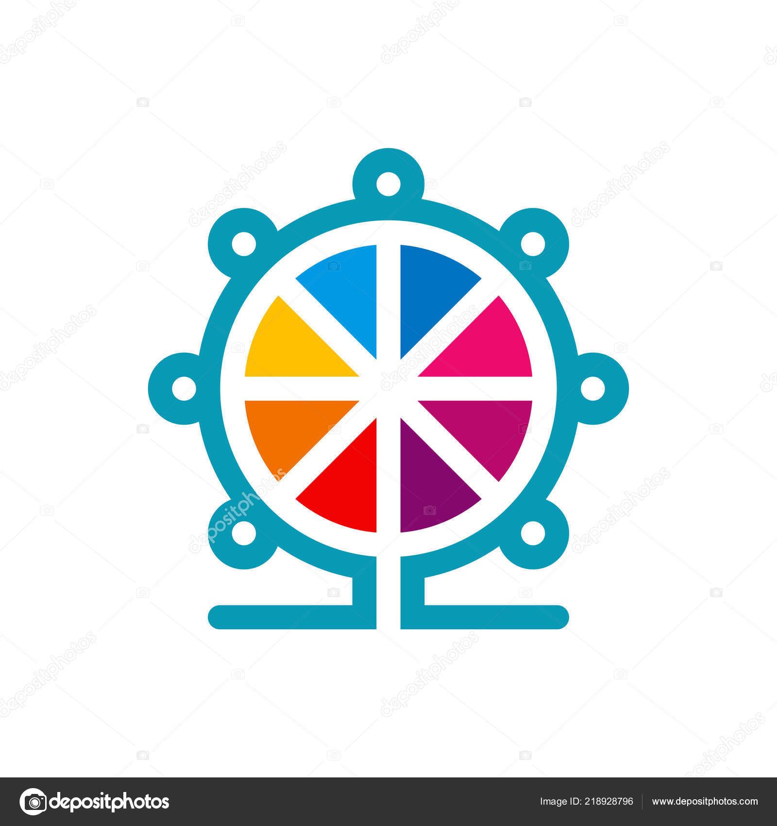 Renkli Donme Dolap Logo Sablonu Vektor Cizim Stok Vektor