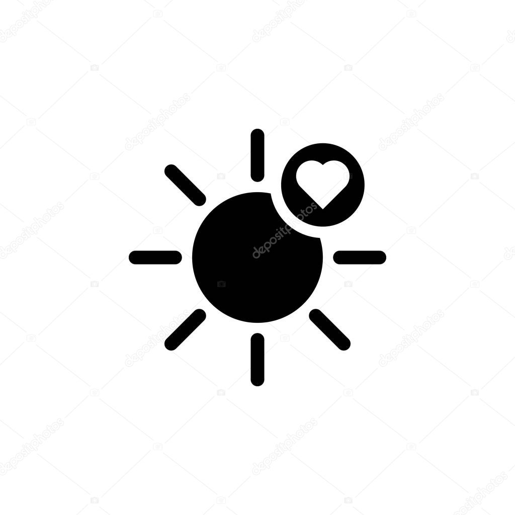 sun heart icon. Element of weather illustration. Signs and symbols can be used for web, logo, mobile app, UI, UX