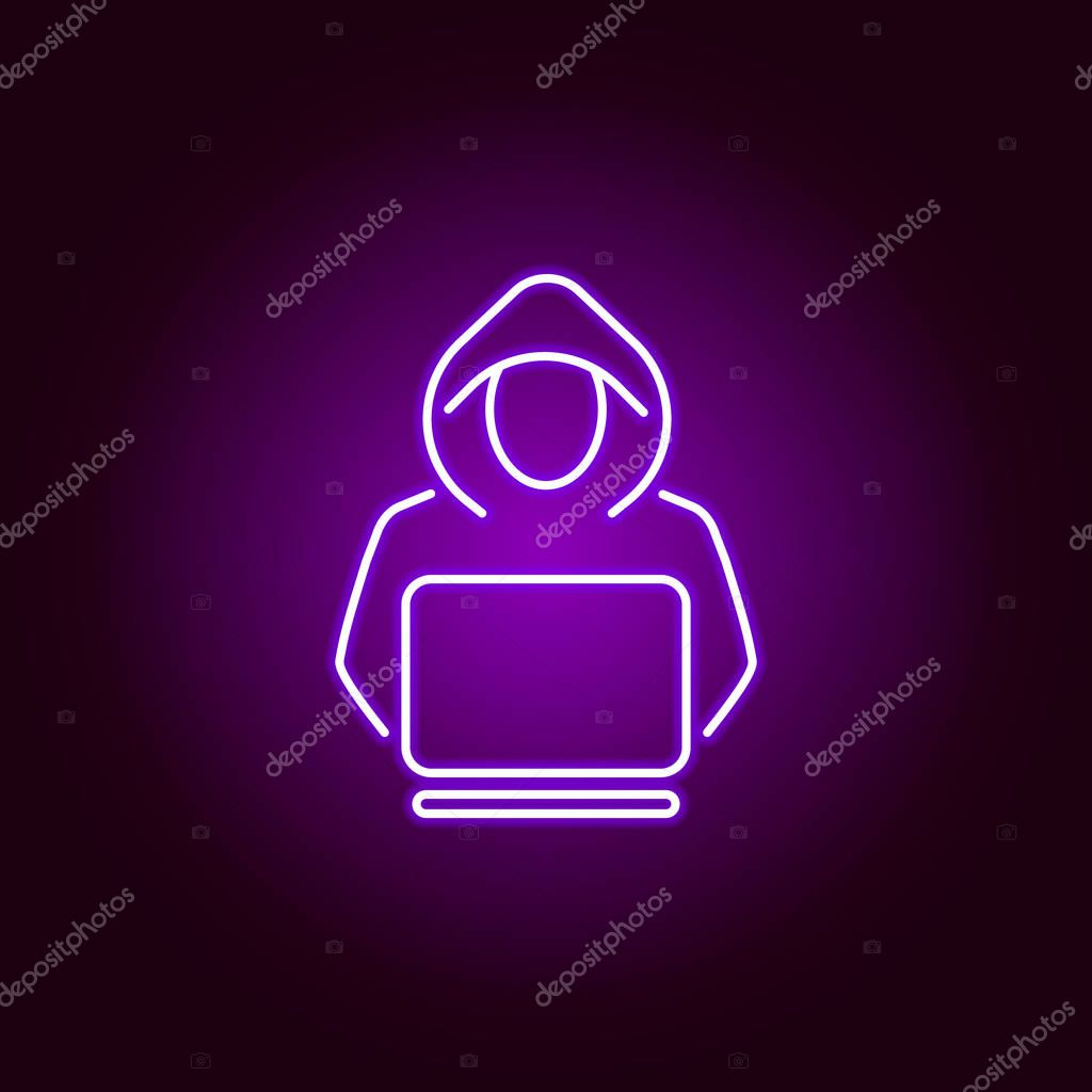 Hacker Criminal Icon In Neon Style Can Be Used For Web Logo Mobile App Ui Ux On Black Background Premium Vector In Adobe Illustrator Ai Ai Format Encapsulated Postscript