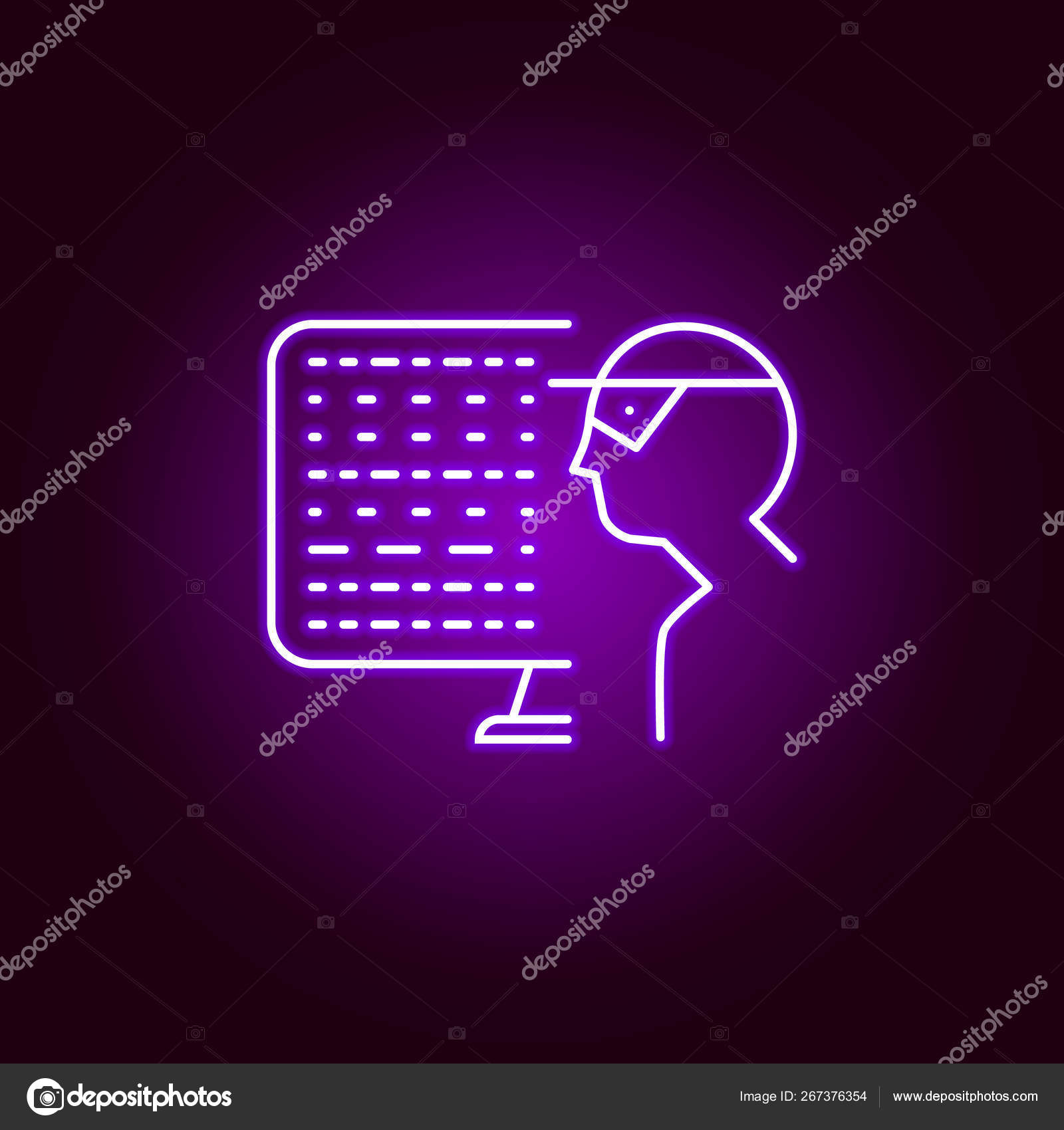 Hacker Hacker Icon In Neon Style Can Be Used For Web Logo Mobile App Ui Ux Stock Vector C Fidaneagle Gmail Com 267376354