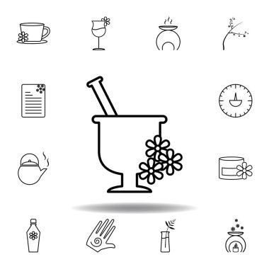 mortar with flowers outline icon. Detailed set of spa and relax illustrations icon. Can be used for web, logo, mobile app, UI, UX