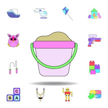 cartoon sand toy colored icon. set of children toys illustration icons. signs, symbols can be used for web, logo, mobile app, UI, UX