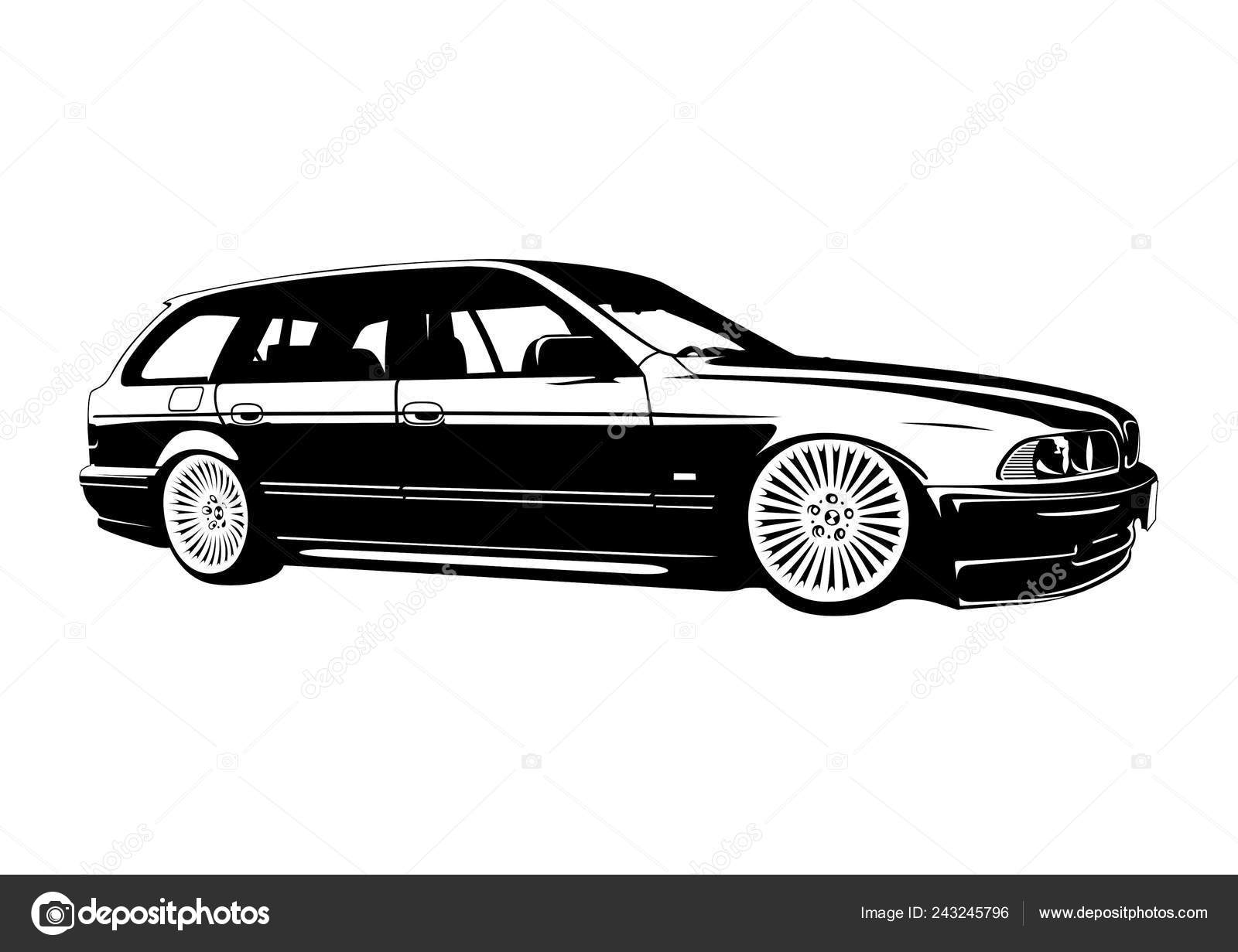 Bmw E39 Touring Single Color Vector Stock Vector C Vecthor 243245796