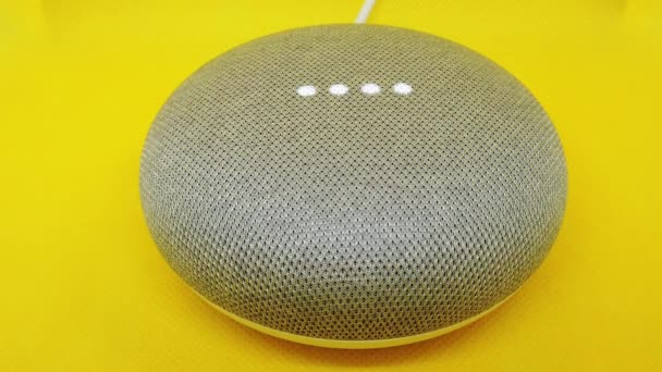 Mini Smart Home Voice Assistant Controlled Gadget Responding To Command
