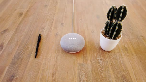 Photo Mini Smart Home Voice Assistant Controlled Gadget Responding To Command. Pen and Cactus