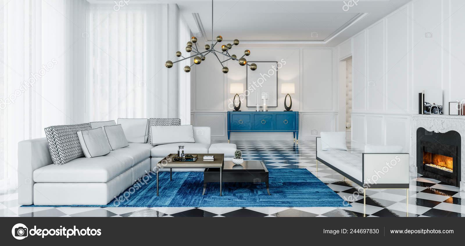 Modern Interior Design Living Room Blue, Accents For Living Room