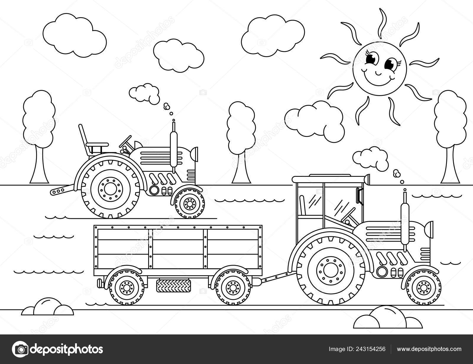 Two Tractors Countryside Coloring Book Stock Vector C Mirrra3