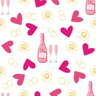Champagne bubble and hearts seamless vector pattern background. Gold, pink, white backdrop of bottles, drink glasses, sparkling circles. Elegant rose wine repeat for engagement, Valentine celebration