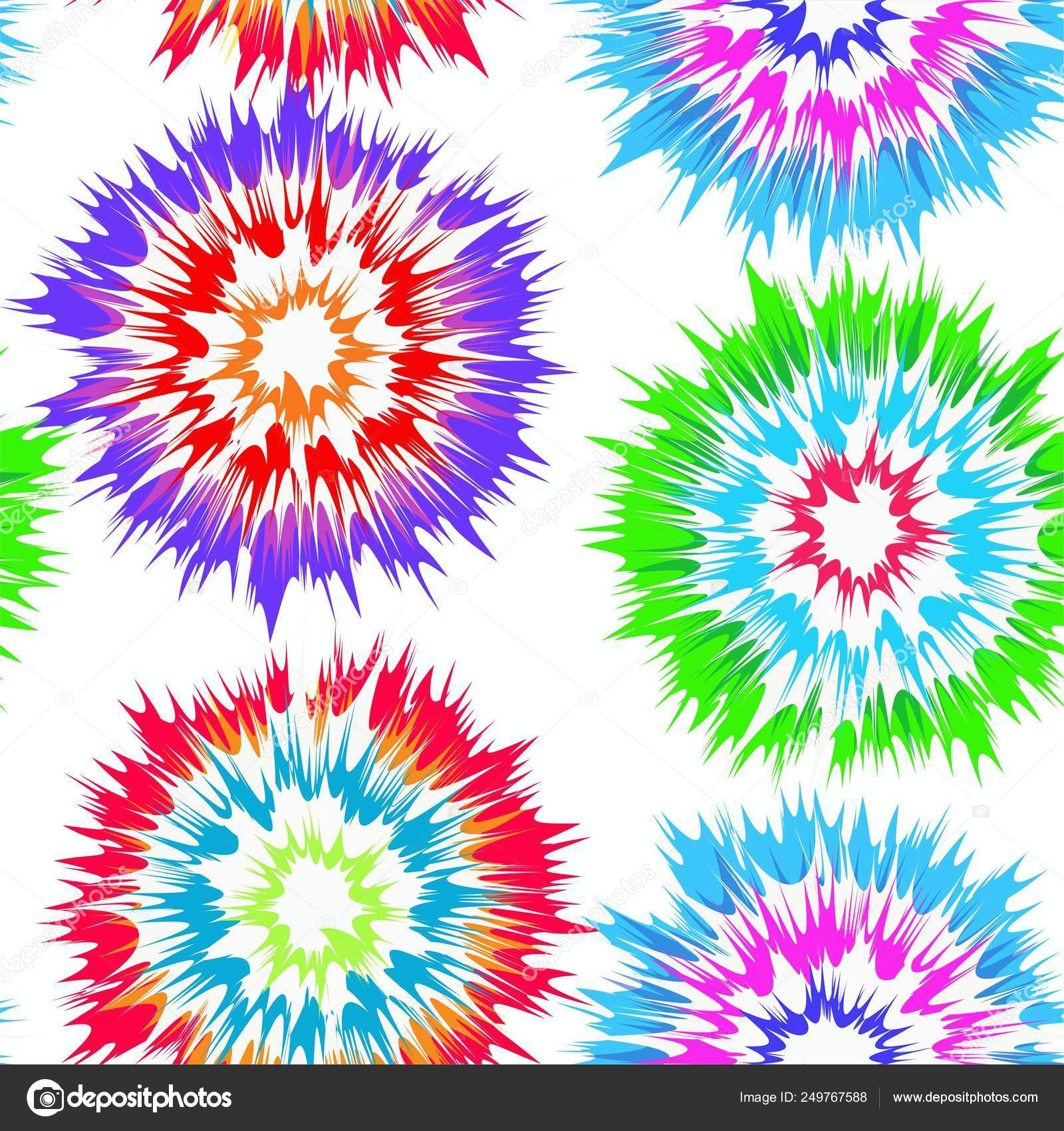 4f8e2082a Tie Dye Look Vector Seamless Repeating Pattern Bright Colors White — Stock  Vector