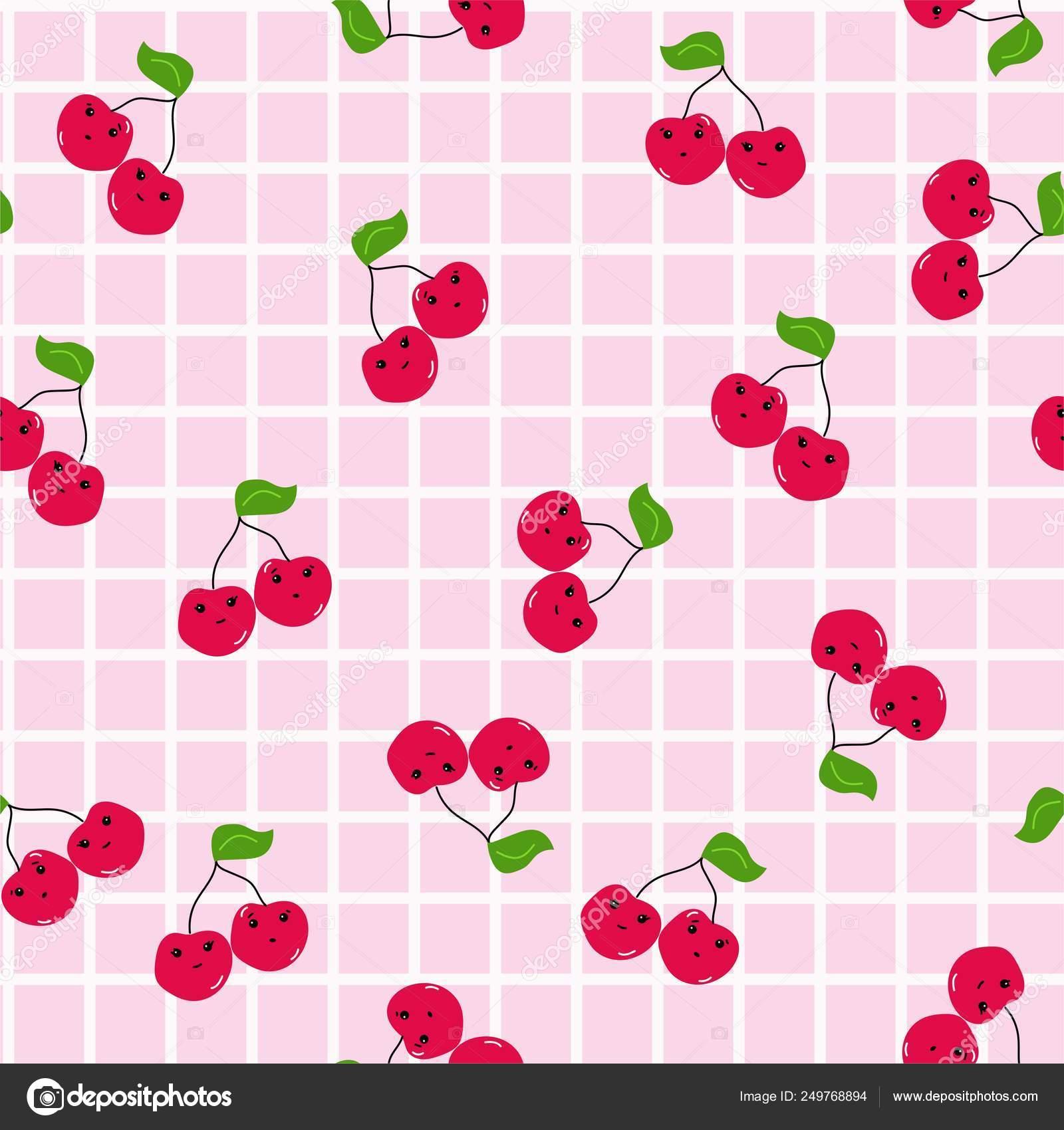 Kawaii Rosso Ciliegia Una Griglia Con Cuciture Sfondo Rosa Bianco