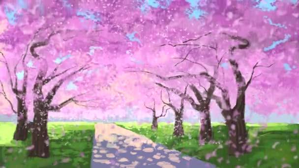 Cherry blossom, sakura petals falling