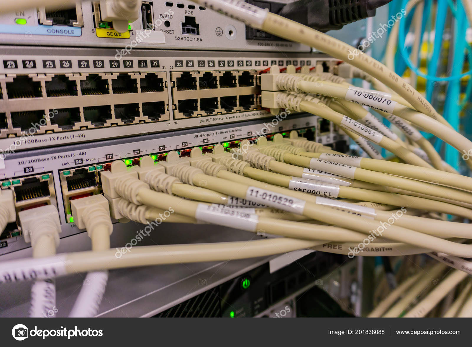 Network Switch Connections Network Cable Rj45 Cable Fiber