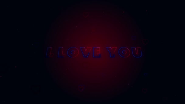 I Love You. Little hearts are on dark background with sparks. Conceptual backgroud. Appearing and disappearing lettering. Zooming. Action. Animation. 3D. 4K.