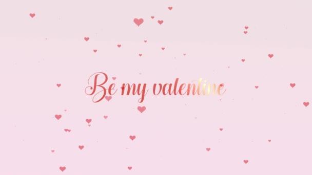 Valentin-nap arany felirattal, elszigetelt világos rózsaszín háttér, amely bedecked kis aranyos piros szívek. Az én Valentin osztoznak a szerelem. Zoom. Akció. Animáció. 4k.