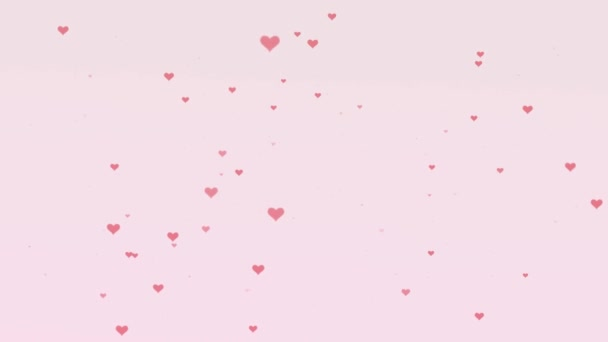 Lovely background with pink hearts for Valentines Day. Light pink backgrop. Zoom. Action. Animation. 4K.