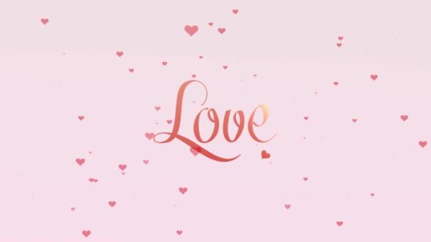 Love vallomás. Valentin-nap betűkkel, elszigetelt fehér háttér, amely bedecked kis aranyos rózsaszín szívvel. Ossza meg a szeretet. Zoom. Akció. Animáció. 4k.