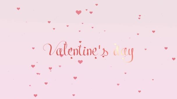 Valentin-nap piros felirat, elszigetelt fehér háttér, amely bedecked kis aranyos rózsaszín szívvel. Ossza meg a szeretet. Zoom. Akció. Animáció. 4k.