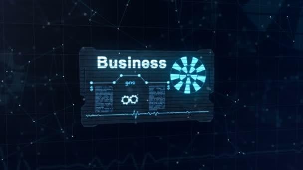Absztrakt kártya kék jele hurkolás kerék és néhány más diagramok appering. Szó üzleti lassan jelenik meg. Számok kibélelése. Absztrakt kék háttér, tele könnyű asterium. 4k.