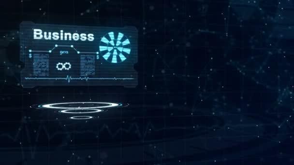 Három mozgó körök vannak a középpontban, majd absztrakt névjegykártya appering a jele hurkolás kerék és néhány más diagramok. Számok kibélelése. Bal oldali kiosztás. 4k.