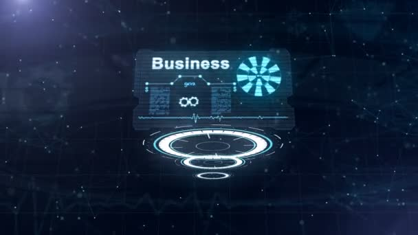 Three moving circles are on focus, then abstract business card is appering from the woodwork with a sign of looping wheel and some other diagrams. Lining out numbers. Zooming. 4K.