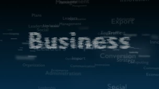 Deep blue background with different words, which deal with business. Close up. Copy space. 3D. Animatiom. 4K.