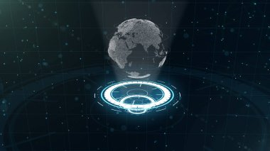 Digital data globe - abstract illustration of a scientific technology. Data network. Surrounding planet earth on three looping circles. 3D. Close up. Copy space. Closely to top view.