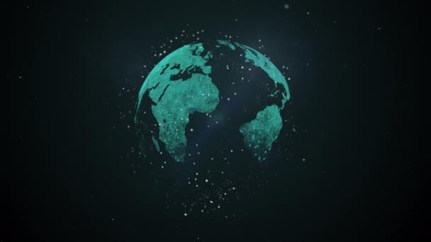 Cybersicherheit, Cyberattacken und Schutz für weltweite Verbindungen. abstrakter Planet, der sich um seine Achse dreht und das Licht ausstrahlt.
