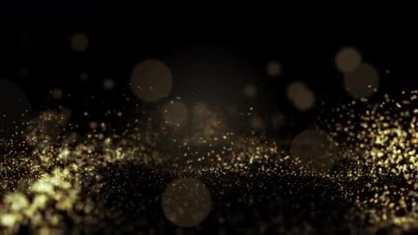 Zlaté třpytivé flitry pro krásu produktu rozinf up na tmavém pozadí bokeh