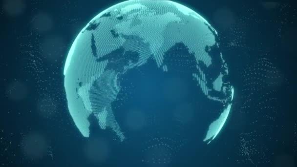 3D Animation des schönen Hologramms der Erde, das sich im Cyberspace dreht.